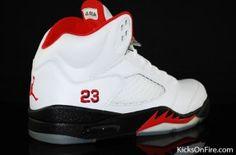 Air Jordan 5 (V) - White / Black - Fire Red - Countdown Package