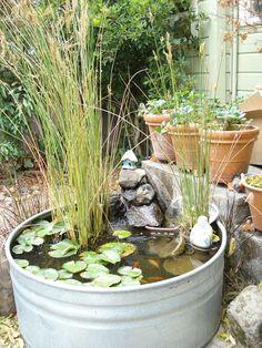ideas diy garden pond tips for 2019 Diy Garden, Garden Pond, Dream Garden, Garden Landscaping, Container Water Gardens, Container Gardening, Ponds For Small Gardens, Patio Pond, Chlorophytum