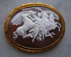 """""""Nike and the Horses of Sun""""  Sardonyx Shell Cameo in 18k Gold Frame, Italy   c. 1860   Frame could be English"""