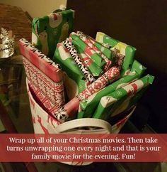 Wrap up all of your Christmas movies. Then take turns unwrapping one every night and that is your family movie for the evening. Fun!  #kidschristmasideas #familychristmasideas