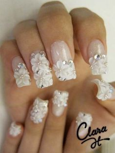 Floral Nails Designs, cute for wedding nails! French Nails Glitter, Fancy Nails, Love Nails, Pretty Nails, White Nails, Wedding Day Nails, Bridal Nails, Wedding Manicure, Bling Wedding