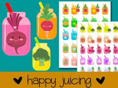 Happy Juicing Vegetable Stickers - Series 2, Printable Planner stickers, kawaii stickers, labels, organize, cute, juice, healthy