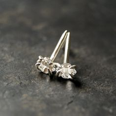 Little Herkimer Diamond Thorn Studs in Sterling Silver