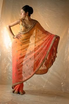 gorgeous ombre red/orange saree