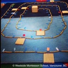 The Thousand Chain! Skip counting by ten, matching quantity (golden beads) and symbol (numerals). Montessori Math - another example of the genius of the hands-on learning materials.