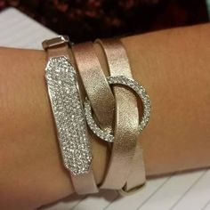 New triple wrap bracelet in rose gold with crystal slide and crystal window. Order at  www.gloriaoliver.origamiowl.com