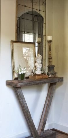 Diy Home decor ideas on a budget. #agedwood #natural #quaint Love this. It's small but amazing. Love the table