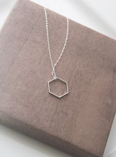 Hexagon Necklace,Geometric Necklace,Geometric Jewelry,Minimalist Necklace,Delicate Necklace,Dainty Silver Necklace,Layering Necklace by lilabelledesign on Etsy https://www.etsy.com/listing/206649649/hexagon-necklacegeometric