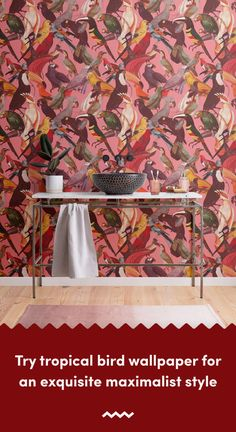 If you're a fan of maximalist interiors, check out this tropical bird wallpaper that's full of colourful tones. Bright Wallpaper, Tropical Wallpaper, Bird Wallpaper, Beach Wallpaper, Pattern Wallpaper, Tropical Birds, Tropical Leaves, Maximalist Interior, Pink Backdrop