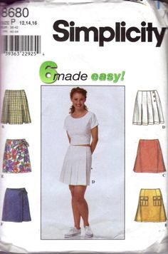 Simplicity 8680 Misses Skort Pattern with 6 different styles