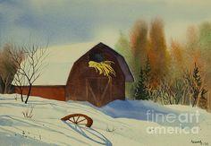 Matanuska Valley Barn - 15 x 20 watercolor by Teresa Ascone
