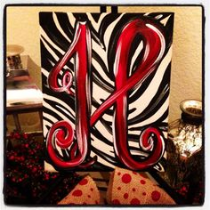 Monogram Hand painted Canvas by LaurieColeDesigns on Etsy, $26.95