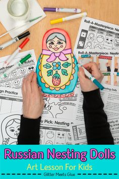 Need a fun & easy distance learning art project for elementary kids? Create folk art Matryoshka Russian Nesting Dolls with markers & crayons. Art game, too! Art History Lessons, Art Lessons, Easy Art Projects, Projects For Kids, Drawing For Kids, Art For Kids, Habits Of Mind, Online Art Classes, Doll Games