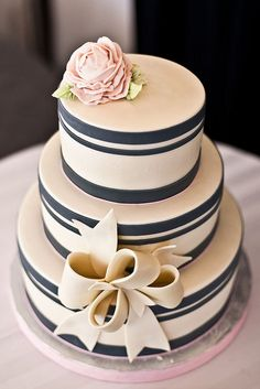 Classic striped cake with bow
