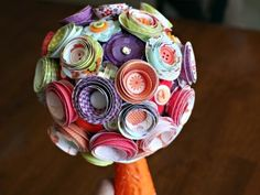 Paper Flower topiary made with Pebbles Happy Go Lucky collection.  Gorgeous!!