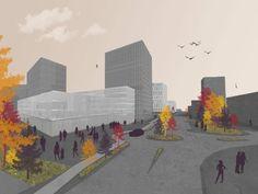 Urbanism, representation, FAU, Cluj Napoca, tree brushes, autumn.