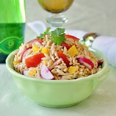 Healthy Chipotle Ranch Orzo Salad - whole wheat pasta and a ranch dressing that's made from non-fat yogurt help make this a tasty but healthy and nutritious addition to summer barbeques and picnics or with some leftover chicken or turkey breast as a terrific lunch.