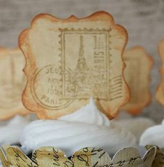 Vintage Travel Cupcake Toppers by Cordially Invited on Etsy