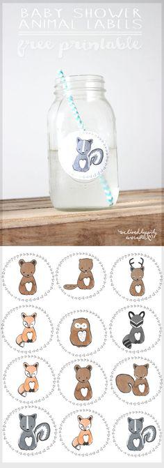 Free Forest Animal Mason Jar Baby Shower Label Printables | We Lived Happily Ever After | Bloglovin'