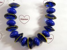 SOLD!!  Blue Nova Lampwork Beads. Starting at $5 on Tophatter.com!  http://tophatter.com/auctions/28088?type=partner