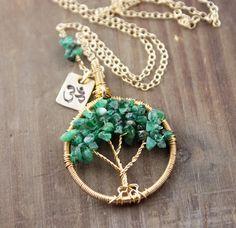 Emerald Tree of Life Necklace May Birthstone OM Tree of by true2u, $164.00