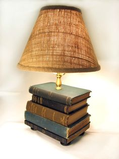 Book Lamp Antique Upcycled Books Burlap Lamp Shade by FirstandFig Lampe Steampunk, Burlap Lampshade, Book Furniture, Furniture Design, Book Lamp, Outdoor Chandelier, Rustic Lamps, Tiffany Lamps, Unique Lamps