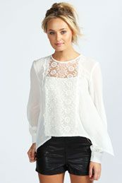 Rosie Lace Panel Open Back Blouse