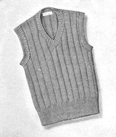 Boy's Sleeveless Sweater Pattern | Sizes 8, 10-12 | Knitting Patterns