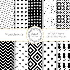 Black and White digital paper  clipart  by mockturtlestudio