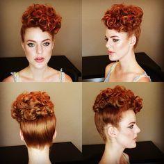 Vintage Hairstyles Curls Poodle updo, Miss Rockabilly Ruby. Retro Updo, Vintage Updo, 1950s Updo, Vintage Pins, 1940s Hairstyles, Curled Hairstyles, Maquillage Pin Up, Poodle Haircut Styles, Estilo Pin Up