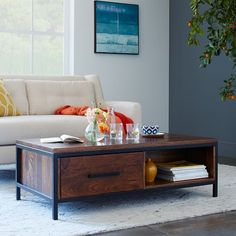 coffee table opt, 48x24, with storage is a plus, Metal + Wood Coffee Table | West Elm