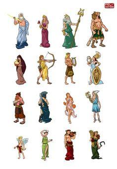 Deuses e Semideuses Greece Mythology, Greek Mythology Gods, Greek Gods And Goddesses, Roman Mythology, Ancient Greek Clothing, Sick Drawings, Roman Gods, 6th Grade Art, Legends And Myths