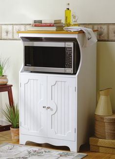 Madison White Wooden Kitchen Microwave Cabinet