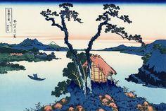 36 Views Or Mount Fuji - Katsushika Hokusai c. 1760 - 1849. This print is #35 being an ink print made from woodblock.  Title - Lake Suwa in Shinano Province. Shinshū Suwa-ko.信州諏訪湖.