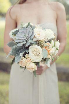 50 Shades of Greyed Jade Wedding Ideas - bridal bouquet; via Style Me Pretty