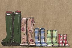 Family of five wellies, applique, free hand machine embroidery and painting