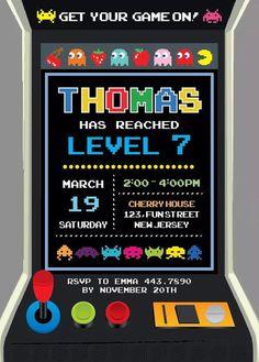 Pacman Birthday Party Invitation Birthday by SergioDesignsShop