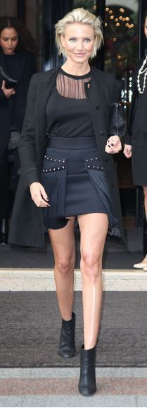 Who made Cameron Diaz's black coat, blue skirt, and mesh top that she wore in Paris on January 23, 2012?