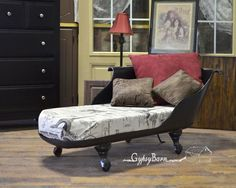 Repurposed bath tub used to make this Chaise Lounge, I think it is stunning!