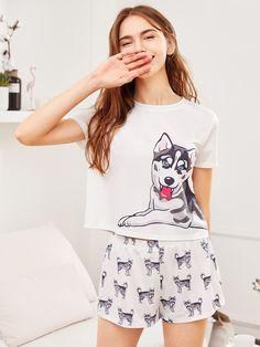 Shop Dog Print Tee & Shorts Pajama Set online SheIn offers Dog Print Tee & Shorts Pajama Set & more to fit your fashionable needs - Under Wear Pajama Outfits, Lazy Outfits, Pajama Shorts, Cute Outfits, Fashion Outfits, Girl Outfits, Cute Pajama Sets, Cute Pajamas, Pajamas Women