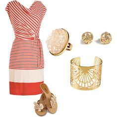 Summer Fun in Stripes: Red, White and Gold