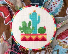 Cactus cross stitch pattern Cute modern succulent by ThuHaDesign