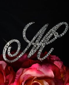 Crystal Rhinestone Covered Gold Monogram Wedding Cake Topper