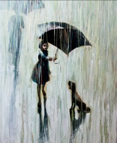 """Umbrella for Two""  - little girl covering her dog with umbrella,trying to hide stray dog from the rain.  Puppy umbrella"