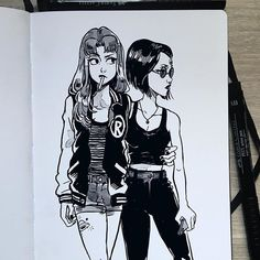 """""""What are you looking at?"""" - Doodling after lunch, I just fet like drawing Starfire and Raven! It's ok if I post a few more Teen Titans drawings right?"""