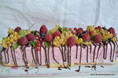 Tort Diplomat cu iaurt si fructe - zmeura, coacaze, afine sau ananas, piersici, cirese, visine. Tort fara coacere, cu piscoturi si crema dietetica de iaurt