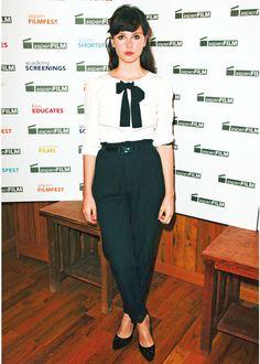 Felicity Jones - surprisingly wearable reverse fit slacks