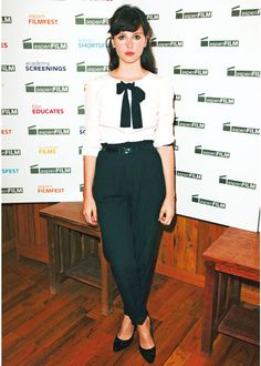 Felicity Jones - surprisingly wearable reverse fit slacks