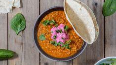 Indisk dal med rødbeteraita Dinner Dishes, Garam Masala, Wok, Meal Planning, Veggies, Cooking Recipes, Chicken, Healthy, Ethnic Recipes