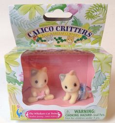 2000 Calico Critters The WHISKERS CAT TWINS, BUNK BEDS & BABY CARRY CASE, NEW  #CalicoCritters